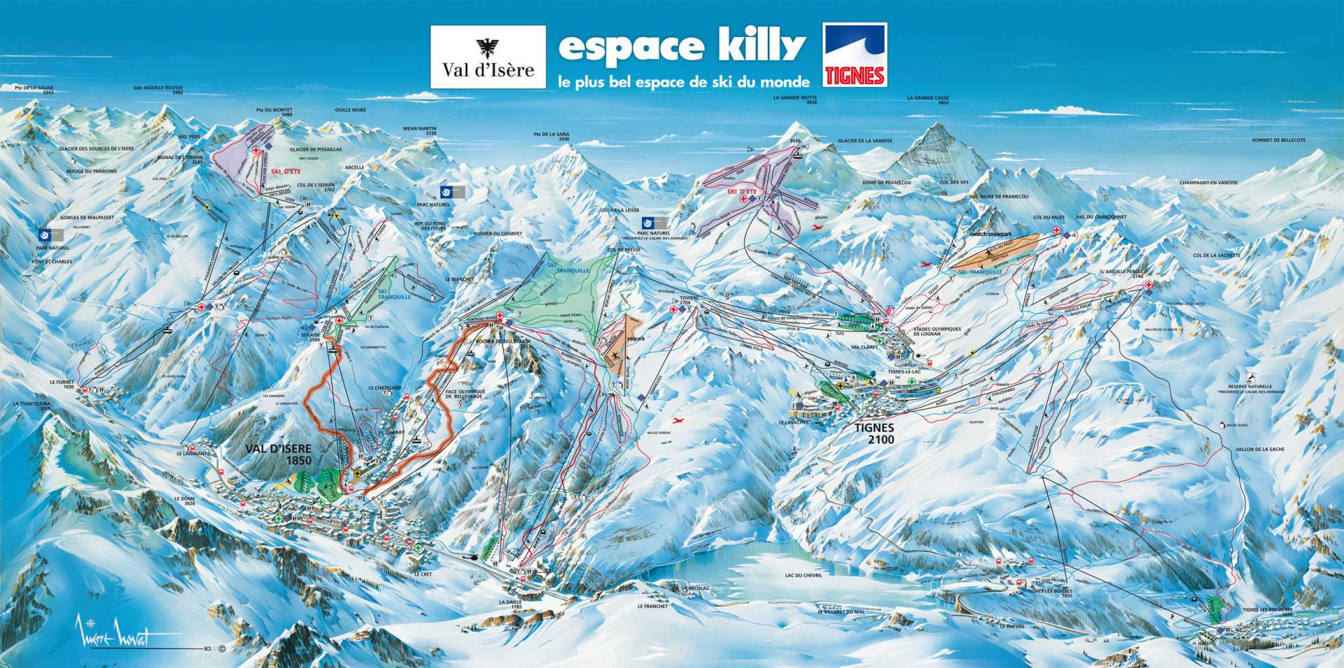 domaine skiable tignes plan des pistes espace killy. Black Bedroom Furniture Sets. Home Design Ideas